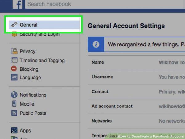 General و حذف فیس بوک