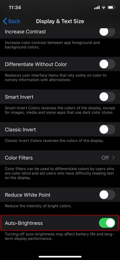 غیر فعال کردن روشنایی خودکار درiOS/iPadOS 13