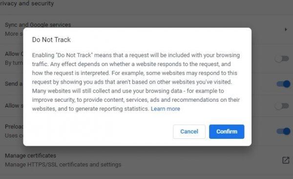 ویژگی Do Not Track را غیر فعال کنید