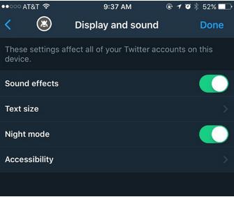تنظیمات حالت شب در توییتر برای کاربران iOS فعال می شود