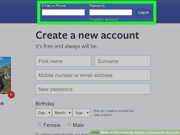 حذف کامل اکانت فیس بوک