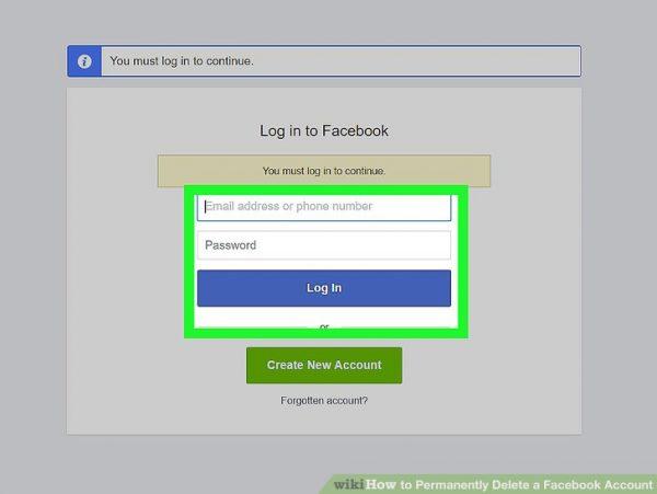 وارد کردن رمز عبور برای حذف فیس بوک