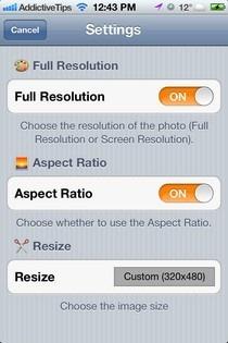 Photo Resizer-iOS-Setings