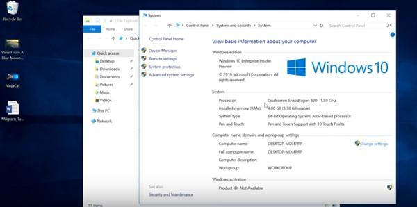 اجرای ویندوز 10 بر روی محصول مجهز به تراشه اسنپدراگون 820 کوالکام