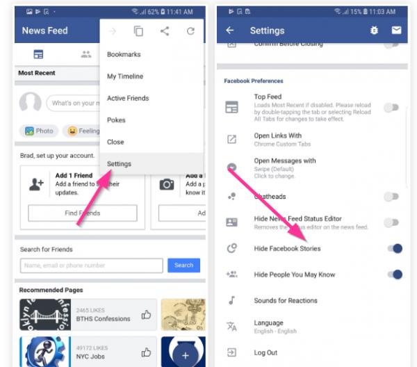 پنهان کردن استوری فیس بوک