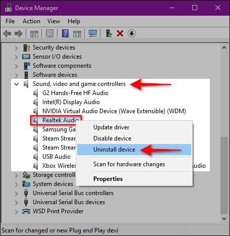 حذف و نصب مجدد دیوایس صوتی
