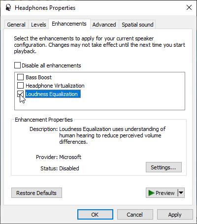 ازAudio Enhancements استفاده کنید