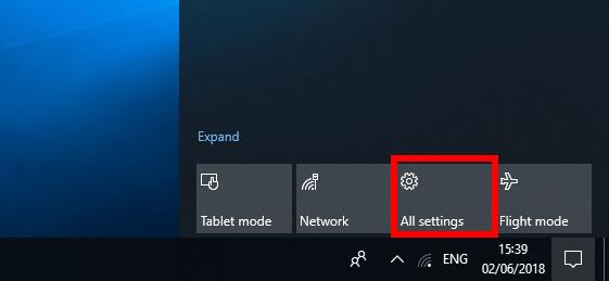 برای باز کردن تنظیمات ویندوز 10