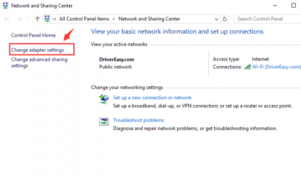 موقعیت Change adapter settings را در عکس مورد نظر مشاهده می کنید. برای تغییرات لازم روی آن کلیک کنید