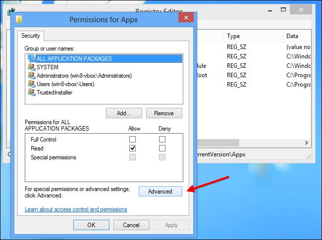 Windows 8-Advanced Registry Key Permissions