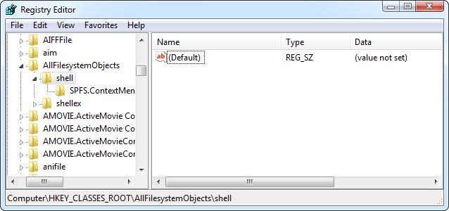 AllFilesystemObjects-Shell key In Registry