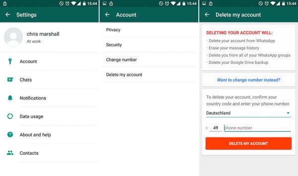 آموزش تصویری و مراحل حذف اکانت واتس اپ برای خروج از لیست بلاک دوستان در واتساپ