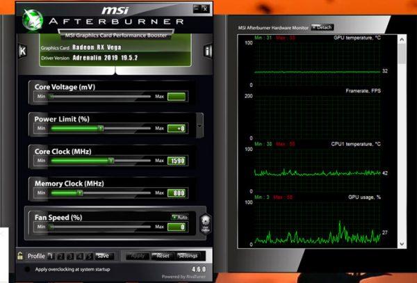 مشاهده دمای CPU در ویندوز 10 با MSI Afterburner