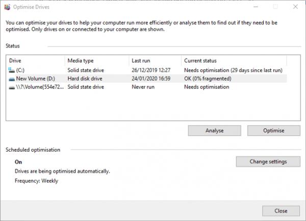 بهینه سازی و Defrag کردن در ویندوز 10