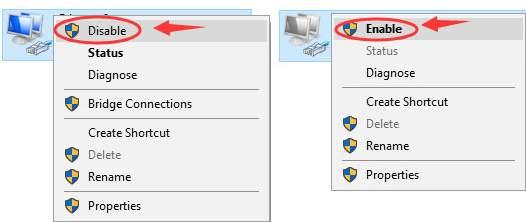 فعال سازی و غیر فعال سازی آداپتور را به طور متوالی، انجام دهید و بعد وضعیت اتصال به اینترنت و رفع مشکل وای فای را تست کنید