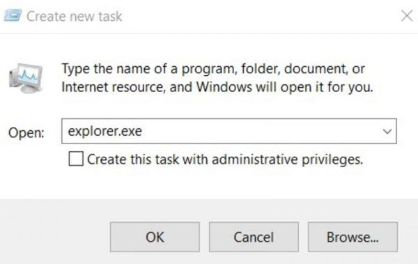 file explorer را از طریق تسک منجر ریستارت کنید