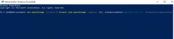 نصب مجدد و رجیستر کردنWindows Apps
