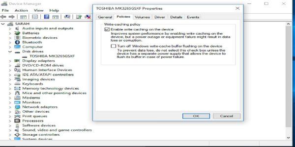 فعال کردن write caching درDevice Manager