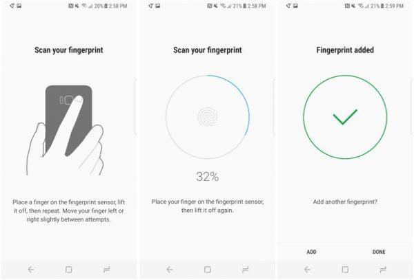 تنظیم اثر انگشت برای قفل گوشی گلگسی اس 8