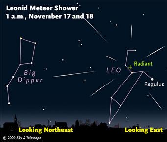 آسمان شب 16 نوامبر، میزبان رویداد شهاب باران Leonid