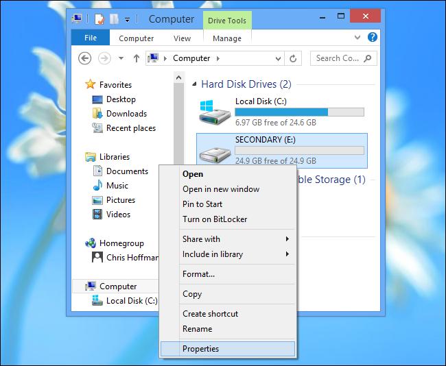 Windows 8-Open Drive Properties