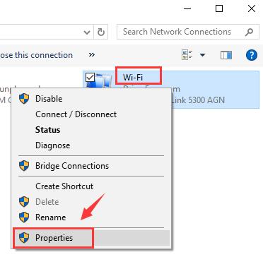 ادامه تنظیمات را به کمک properties روی آداپتر اعمال کنید
