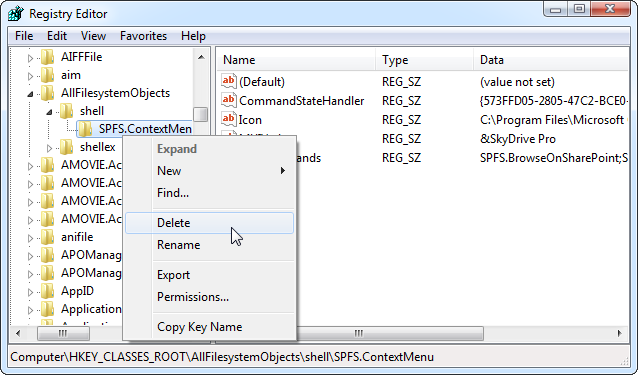 Remove SkyDrive Pro From Context Menu