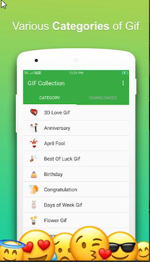دسته بندی های متنوع گیف های واتس اپ اندروید در نرم افزار GIF For WhatsApp را در این عکس مشاهده می کنید