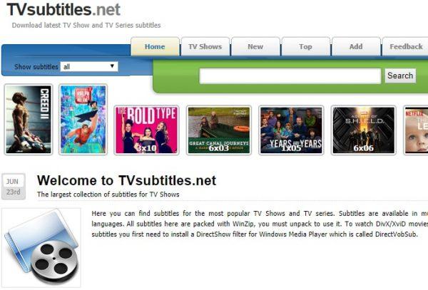 سایت زیر نویس فیلم های تلویزیونی TVSubtitles.net