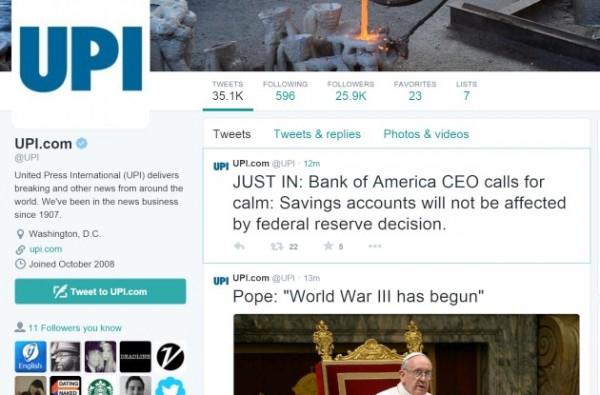 حساب توییتر نیویورک تایمز و UPI هک و اخباری جعلی توسط هکرها در این حسابها منتشر شد
