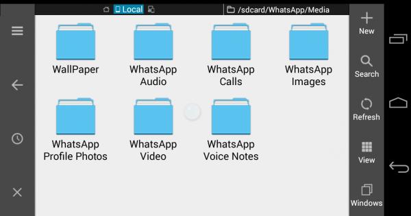 به کمک یک نرم افزار مدیریت فایل پوشه های واتس اپ را باز کنید و آن ها را تخلیه کنید تا فضای گوشی آزاد شود