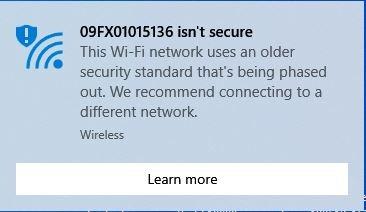 هشدارWi-Fi Isn't Secure در ویندوز