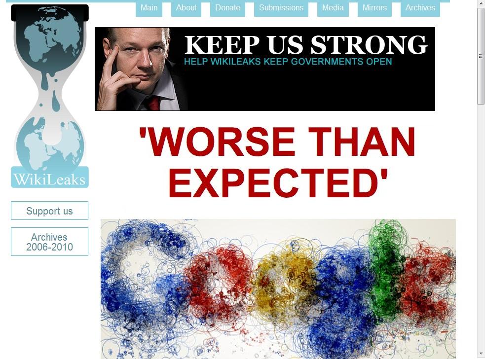 تصویر خبر درج شده در ویکی لیکس مبنی بر فعالیتهای تروریستی گوگل