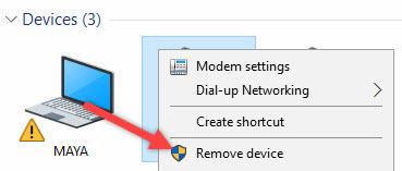 حذف و اضافه کردن دیوایس برای حل مشکل بلوتوث در ویندوز 10