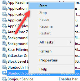 استارت اجرای سرویس در ویندوز 10